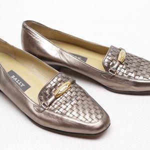 Bally Vanessa Leather Weave Metallic Loafers